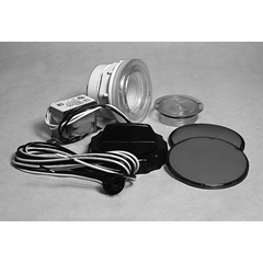 "Light Lens Kit, Housing Only. Front Access, 3-1/2"" Face, 2-5/8"" Hole"