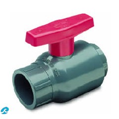 Gray Ball Valve w/Red Handle