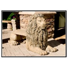 Lion Concrete Animal Bench