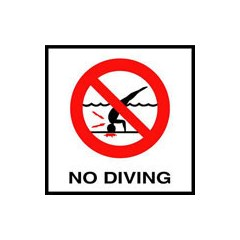 "6"" x 6"" Waterline Message Tile - Tempered Glass, No Diving, Smooth Symbol & Letters"